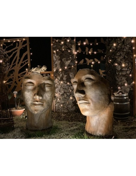 Steinguss Kunstobjekt: Gesicht Mann -  Rosteffekt 115 cm hoch inkl. Platte zur Montage145 kg schwer