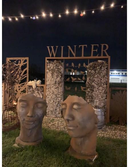Steinfigur Gesicht Mann -  Rosteffekt 115 cm hoch 145 kg schwer