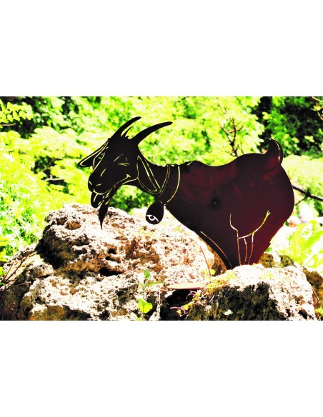 lustige Rost Ziege mit Glocke - groß - 59 cm hoch