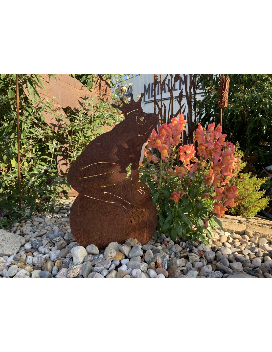 Froschkönig - Rost Frosch für Teich und Garten, Höhe 33,50 cm
