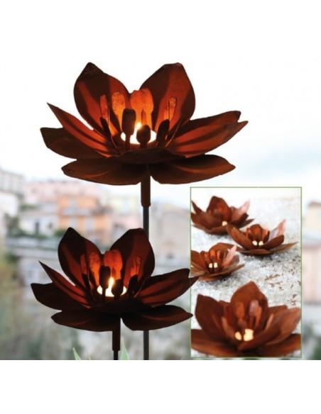 """Gartenstecker """"Fleur"""" aus Rost-Metall - Höhe 130 cm - gross"""