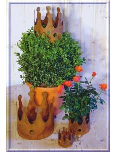 Edelrost Schale Pflanzgef/ä/ß Blumentopf f/ür den Garten Gartendeko Gartendekoration Metall Naturrost dekorieren Rost rostige Dekoration Deko Landhaus Bl/üten Blumen Gartenfigur 24cm x 12cm Wei/ß