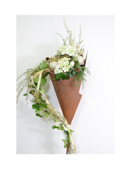 Rost Metalltüte 30 cm hoch auf Stab - Gartenfackel und Pflanztüte