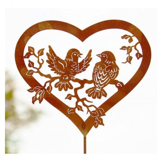 Gartensteker Vogelpärchen mit Herz auf Stab 100 cm 2-teilig