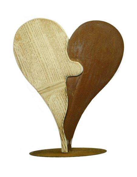 Zweiteiliges Herz Puzzle aus Rost und Holz, Höhe 36 cm
