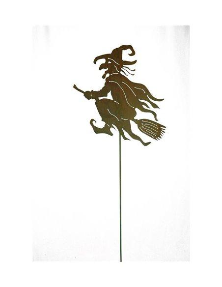 Alte Hexe auf Besen - Gartenstecker 50 cm groß