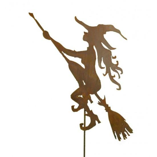 """Gartenstecker """"Junge Hexe"""" auf Besen 60 cm zzgl. Stab 100 cm"""