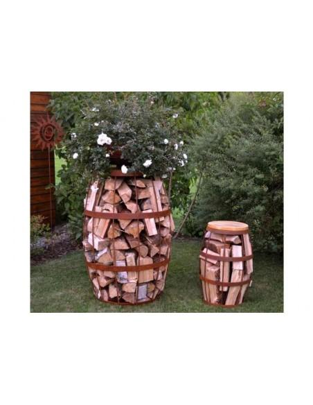 Gastronomie und Ladendekoration Metallfass-Hocker zum Befüllen mit Holz Edelrost exklusiver Faß-Hocker für die Gartenparty oder
