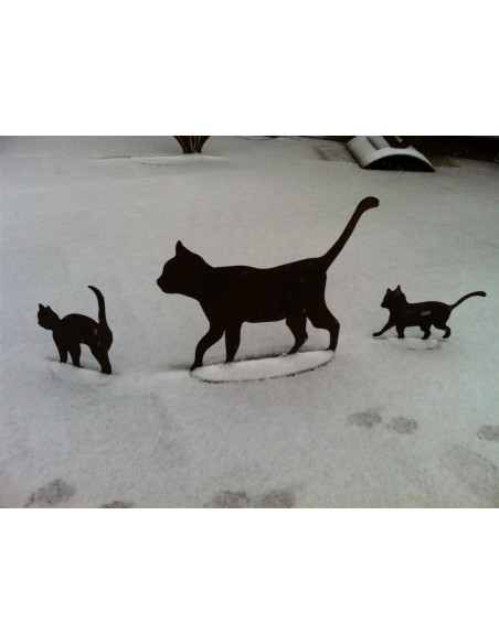 Deko Katzen und Mäuse Katzenfamilie 3 teiliges Rost Katzen- Set Tolle Gartendeko Katzenfamilie im 3er Set 1 x Katze gehend (45