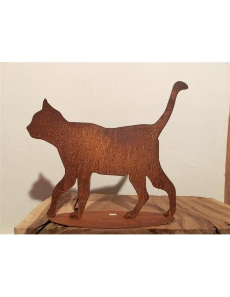 Gartendeko Rost Rost Katze gehend auf Platte - rostige Gartendeko Edelrost