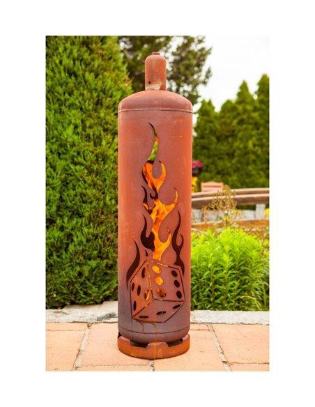 """Edelrost Feuerstelle Gasflasche """"Würfel"""" 128 cm hoch Feuertonne"""