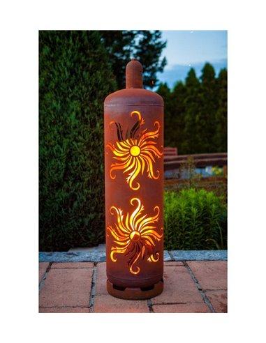 """Feuerstelle Gasflasche """"Sonne"""" 128 cm hoch"""