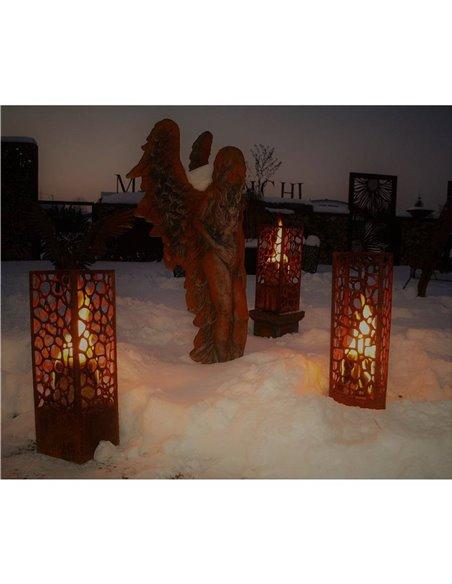 Säule Nico 73 cm hoch - Feuer und Lichtsäule mit wildem Bruchmotiv