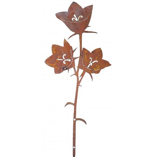 Zaungucker - Zauntiere Glockenblumenstecker -Elisabeth- Rostblume Höhe 35,5 cm, Breite 15,5cm als Gartenstecker oder Beetstecker