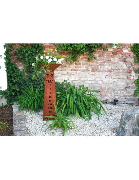 Rostsäule Willkommen inkl Schale trapezförmig 97 cm hoch