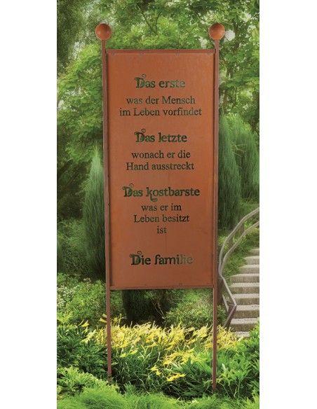 Edelrost Gartenstecker Familie Family Spruchschild Rostschild mit Familienspruch