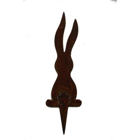 Edelrost Beetstecker langer Hase mit Puschel-Ausschnitt - Höhe 25 cm Beetstecker für