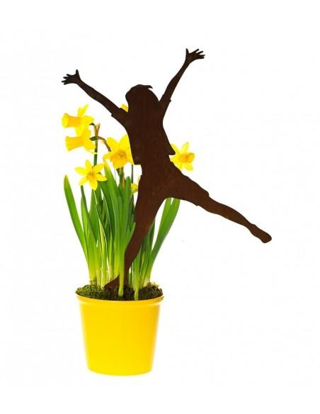 Geschenk für Turnerin fröhliche Figur Gartenstecker