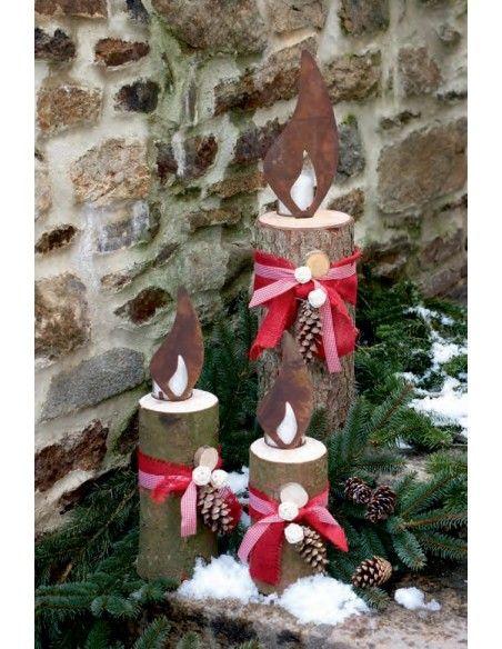 Weihnachtsdeko rostige Flammen Edelrost Flamme 20 cm zum Holzkerzen basteln - Rostflamme zur Rasenverzierung
