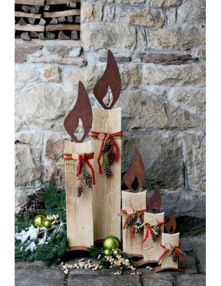 rostige Flammen Edelrost Flamme 20 cm zum Holzkerzen basteln - Rostflamme  Flamme lose zum Einschlagen, Höhe ohne Dorn 20