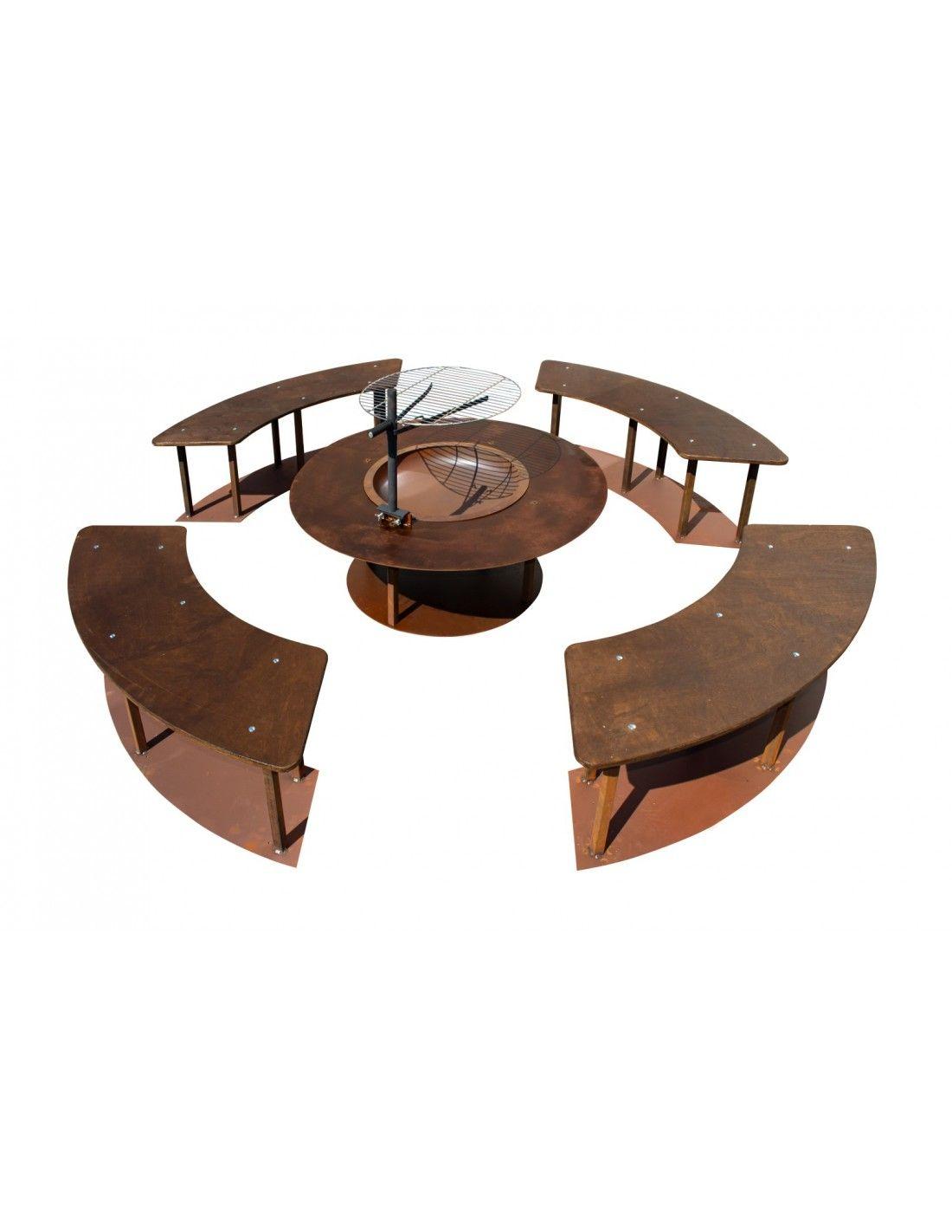 Feuerstelle Circle Xxl Set Mit Grill Und Banken