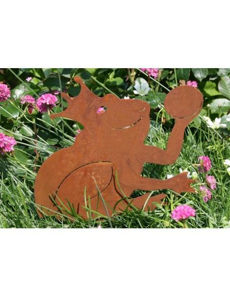 Gartenteich Edelrost Froschkönig Beetstecker, Höhe 23 cm Gesamtlänge inkl. Erdspieß 23 cm