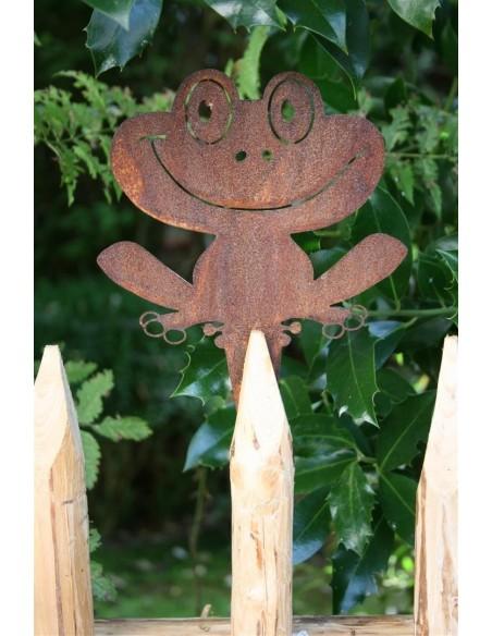 Gartenteich Rost Frosch - Froschstecker für Garten oder zum Anschrauben an Zaun Edelrost   Breite 15 cm Höhe 24 cm Dieser Edelro