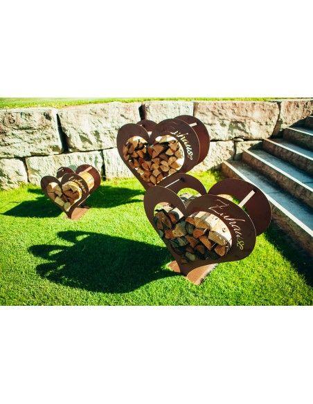 Herz Kaminholzregal - mit Aufschrift Zuhause - in 3 Größen
