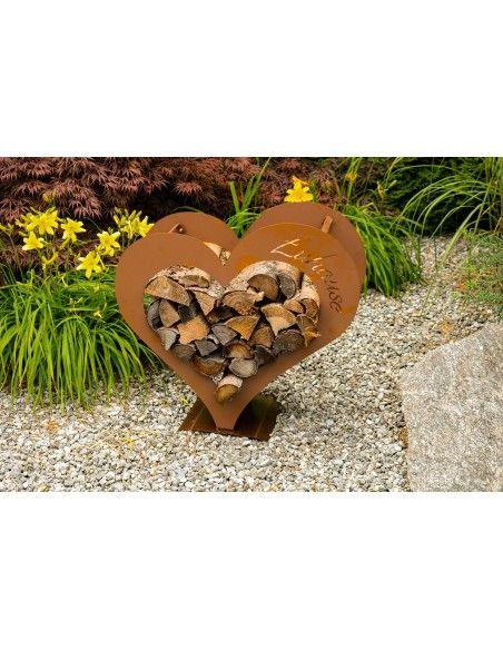Mittleres Herz Kaminholzregal - mit Aufschrift Zuhause - Höhe 72 cm