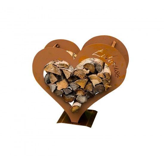 Kleines Herz Kaminholzregal - mit Aufschrift Zuhause - Höhe 51,5 cm