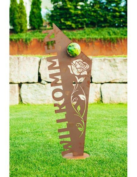 Metall Schild - Willkommen inkl. Glaskugel - Höhe 121 cm