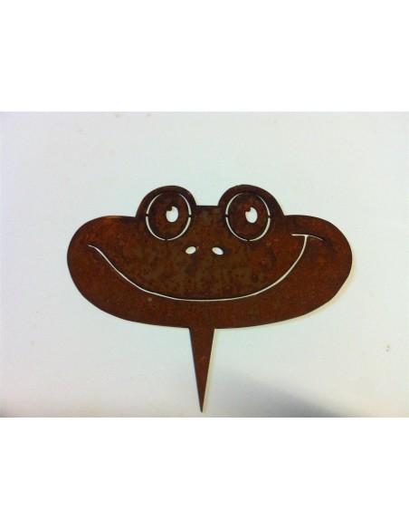 Gartenteich Metallsatz Frosch für Holzstamm Metallsatz bestehend aus Kopf 13,5cm x 11,5cm Arme 32,5cm x 5,5cm fertig montierte V