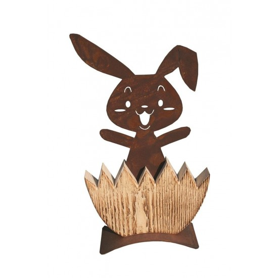 Osterhase deko Idee - im Holz-Ei