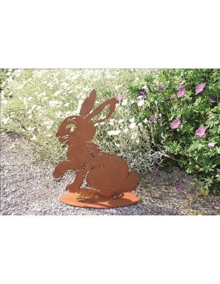 Hasen Rost Kaninchen - Flecky - Edelrost Hase für die rostige Gartendekoration H: 28 cm B: 22 cm Hase / Kaninchen in Edelrost
