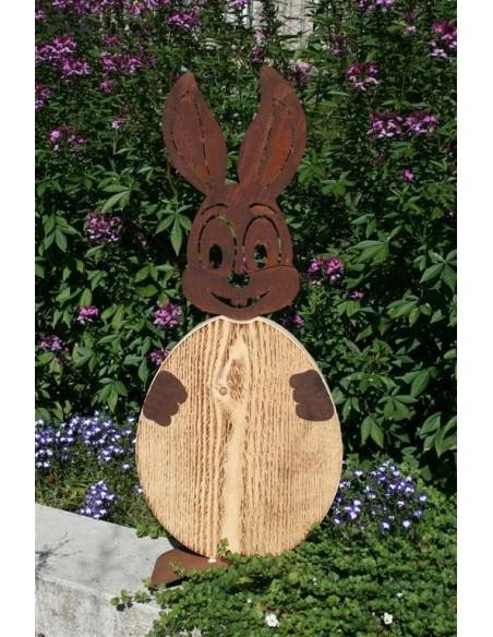 Gartendeko Tierfigur Hase aus Holz und Metall