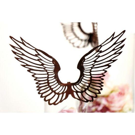 ausgefallene Tischdekoration  filigrane Flügel nach Oben zum einhängen klein - 15 cm Höhe 15 cm Breite ungebogen 24 cm hinten