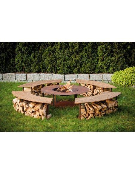 Grillstellen + große Gartengrills Gebogene Gartenbank mit Holzablage - Circle-Set - Bank - 160 cm Breit Diese wetterfeste stabil