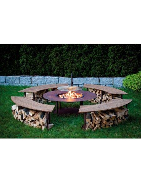 Feuerschalen Feuerstelle Circle Komplett Set inkl. Schwenk-Grill und Bänken- Garten Grillstelle Dieser großer Grillpatz für Zuha