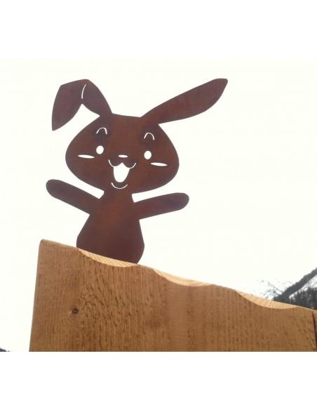 Gartendeko Rost Metallsatz Rost Hase zum Festschrauben in Holz Edelrost