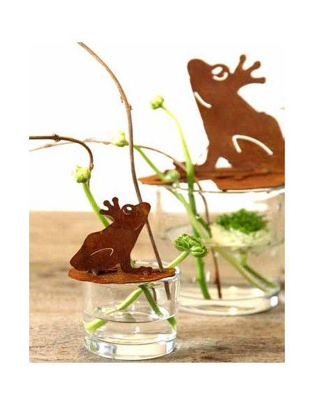 Gartenteich Frosch auf Seerosenblatt groß Höhe 21 cm, Breite 26 cm