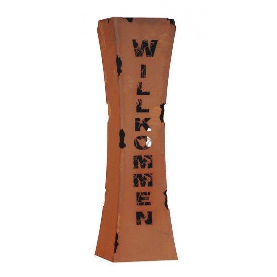 taillierte Säulen Rostsäule Willkommen tailiert mit Brennbehälter Höhe 110 cm Breite: 30 x 30 cm inkl. herausnehmbaren Brennbe