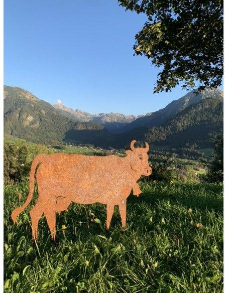 Allgäu Deko Edelrost Kuh XL  100 x 70 cm auf Stangen Original Allgäuer Rostkuh Große Deko Kuh für alpenländische Deko im Allgäu