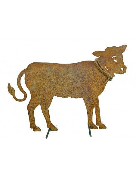 Allgäu Deko Rost Deko Kalb Groß 65 x 47 cm auf Stangen  H: 47 cm cm B: 65 cm inkl. Strick mit 2 Querstanden als Standfüße