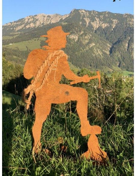 Allgäu Deko Dekofigur Bergsteiger LUIS - 60 cm mit Hut  Große Dekofigur Bergsteiger aus Metall als alpenländische Gartendeko im