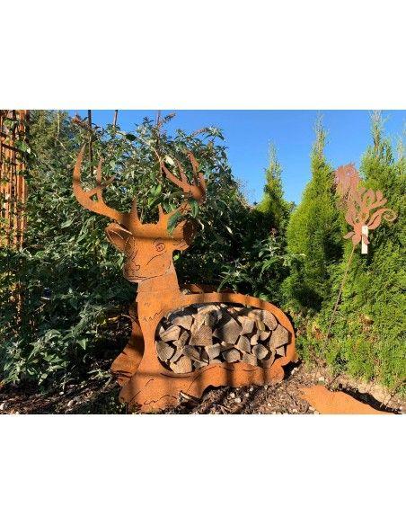 Kaminholzregale und Herzen Edelrost Holzregal liegender Hirsch groß, Höhe 96 cm, Breite 121 cm Edelrost Holzregal liegender Hirs