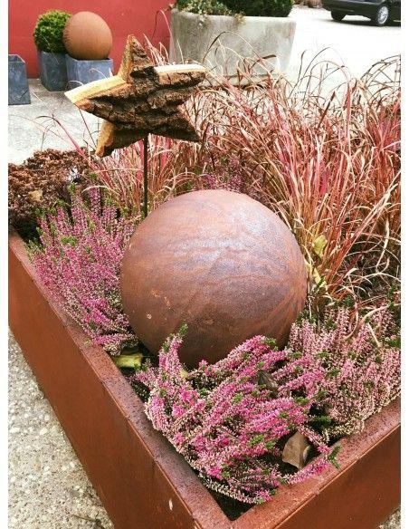 Sommer Kugel Edelrost 30 cm Durchmesser geschlossene Edelrost Kugel mit 30 cm Durchmesser Materialstärke 1,5 mm Gewicht 2,5 kg