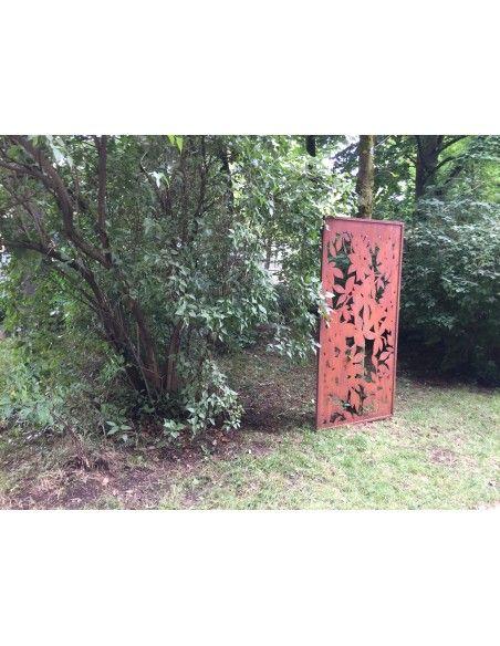sonstige Blumen Sichtschutzwand Metall Blätter 200 cm hoch 100 cm breit - Blattwerk Paravent       ausgefallener 2 m hoher