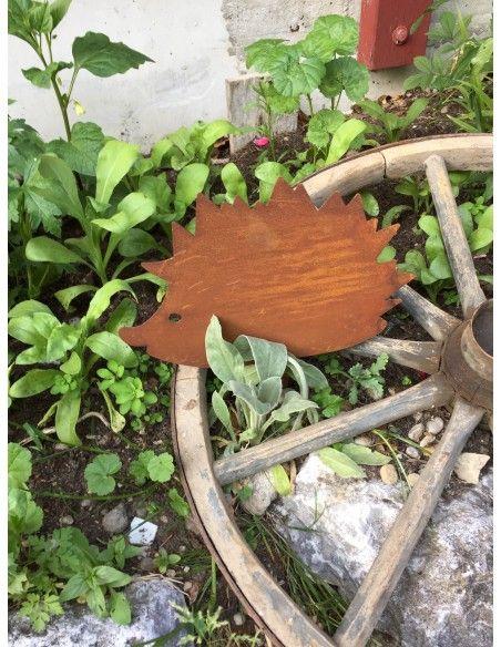 Gartentiere Rost Igel Beetstecker klein 14 x 18 cm Höhe 14 cm + Stecker 10 ,5cm Gesamthöhe ca. 24,5 cm Breite 18 cm