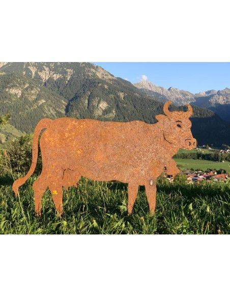 Allgäu Deko Edelrost Deko Kuh mittel 50 x 37 cm auf Stangen Original Allgäuer Rostkuh Diese Deko Kuh aus Edelrost ist die perfek