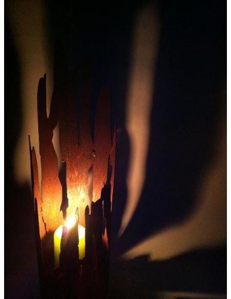 Treibholz Windlicht Schatten an der Wand